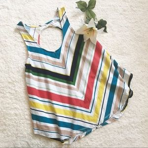 ANTHROPOLOGIE Deletta Striped Open Back Tank Top